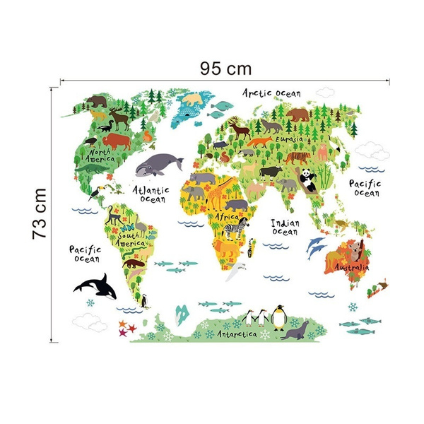 Wish colorful animal world map wall decals bedroom nursery room wish colorful animal world map wall decals bedroom nursery room decoration pvc mural art diy wall stickers for kids room home decor gud gumiabroncs Images