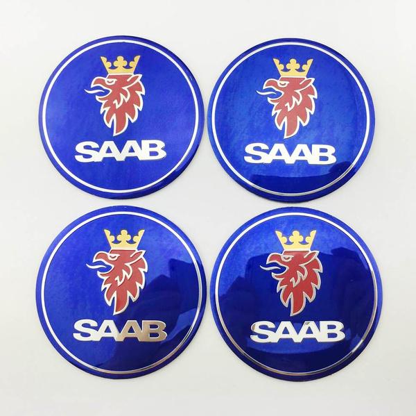 Geek 4pcs Saab Wheels Car Center Hub Cap Badge Emblem Decal