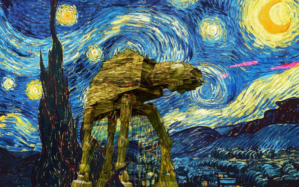Picture of Vincent Van Gogh Starry Night Fabric Poster 40 X 24 / 21 X 13 / 28 X 18