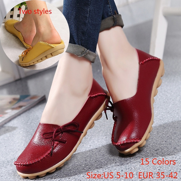 Picture of Fast Shipping 4-15 Days New Casual Loafers Fashion Women Flats Peas Lace Up Comfortable Flat Shoes 15 Colors Size 35-42