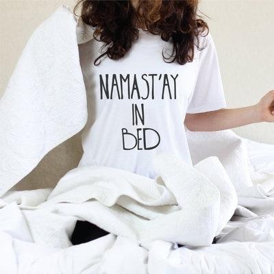 Picture of Namast'ay In Bed Funny Female T-shirts Harajuku Korean Style Cute Kawaii Punk Tops Tee