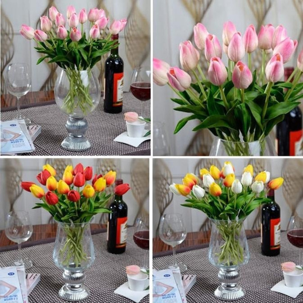 Picture of 10pcs Tulip Artificial Flower Latex Real Touch Bridal Wedding Bouquet Home Decor Super Present/giftsfast Shipping