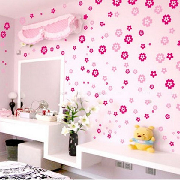 Picture of 108pcs 6 Colors Removable Fashion Flower Butterfly Mural Wall Art Sticker Door Window Decal Paper Home Decor