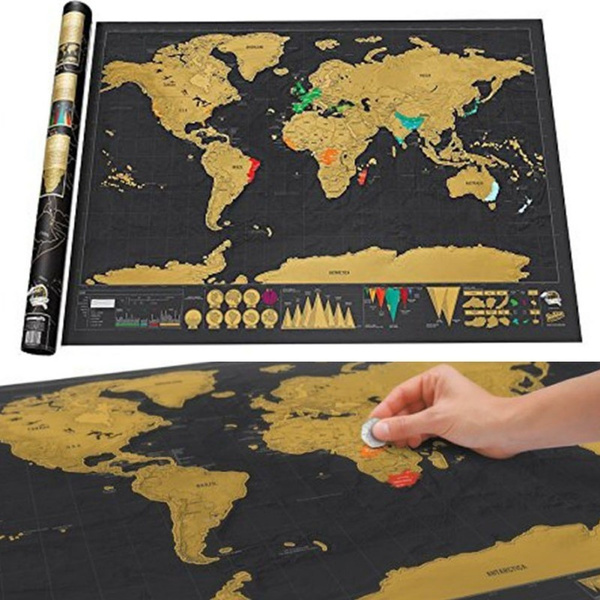 Wish deluxe travel edition scratch off world map poster wish deluxe travel edition scratch off world map poster personalized journal log gift new new gumiabroncs Images