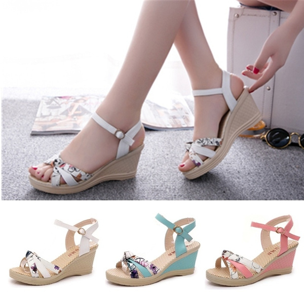 Picture of Women's Fashion 6cm Summer Casual Flat Wedges Floral Lattice Sandals High-heeled Platform Beach Shoes