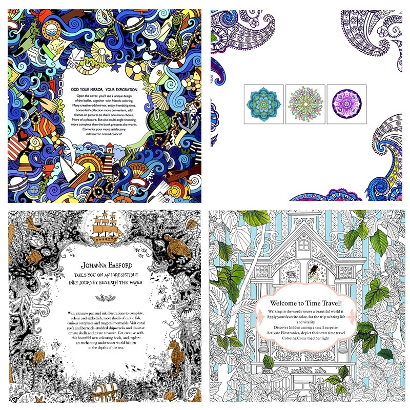Size 185cm185cm The Book 12 Sheets Also Means 24 Pages Not Including Front Cover Styles1Wonderland Exploration2Een Mandalas3