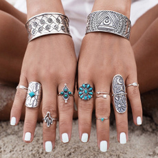 9PCS/Set Antique Silver Plated Vintage Bohemian Turkish Midi Ring Set Steampunk Snake Turquoise Ring Knuckle Rings For Women Jewelry