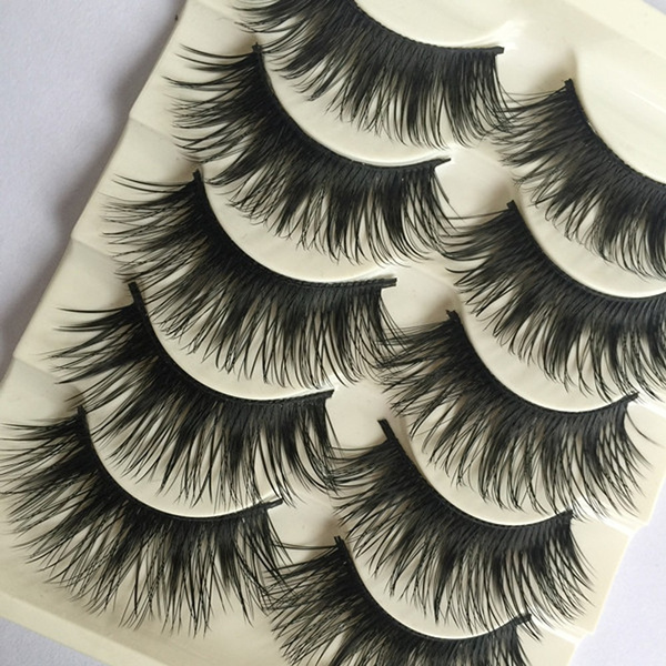 Picture of 5pairs Beauty Long Thick Eye Lashes Extension False Fake Eyelashes Cross Makeup Tool