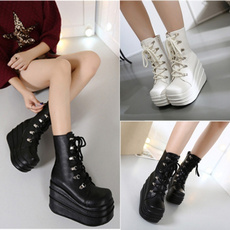 wedge, Goth, leather shoes, Combat