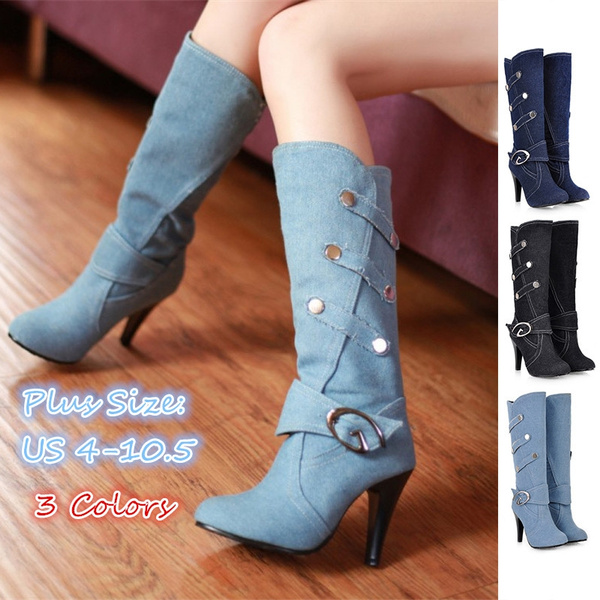 Picture of Fashion Women Shoes Code Cowboy Boots In Black Cloth Belt Buckle With Fine High-heeled Boots