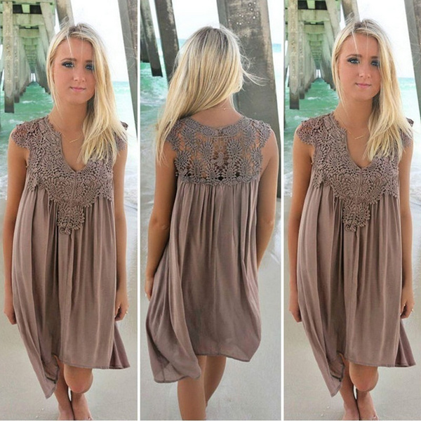 V-neck Lace Sleeveless Chiffon Sexy Beach Dress Plus Size S-XXXL