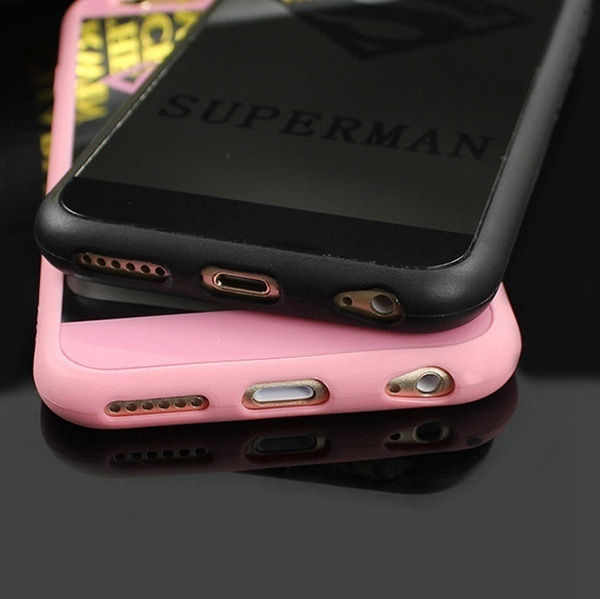 UTrend Superman Superwoman LOGO Mirror Surface Phone Case Soft Silicone Frame Protective Cover With Free Lanyard for iPhone 5 5S SE / 6 6S / Plus