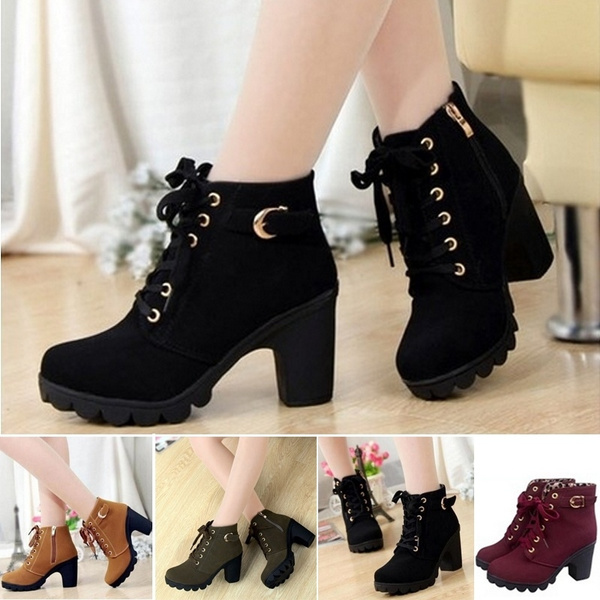 Picture of Women Pumps European Pu Leather Boots Ladies High Heel Fashion Motorcycle Boots Pumps Women Shoes