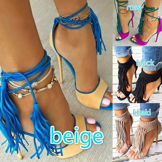 Picture of Women's Fashion Sexy Tassel Retro Sandals Stiletto High Heels Sandals Casual Party Shoes Club Wear Shoes Roman Shoes