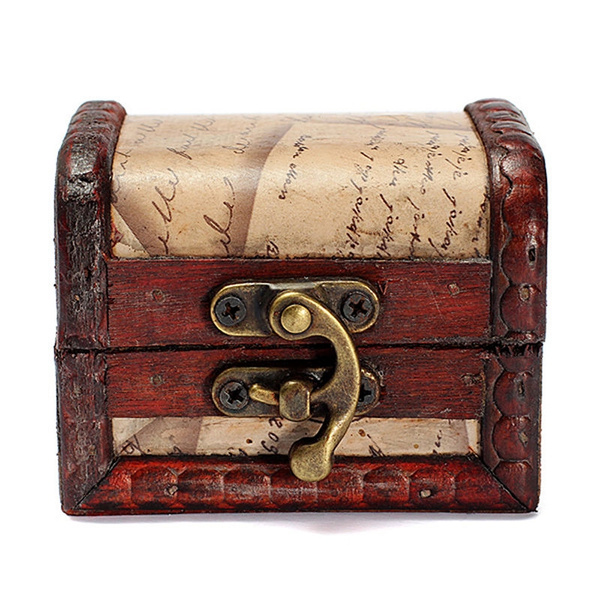 Lock Jewelry Treasure Case Handmade Wooden