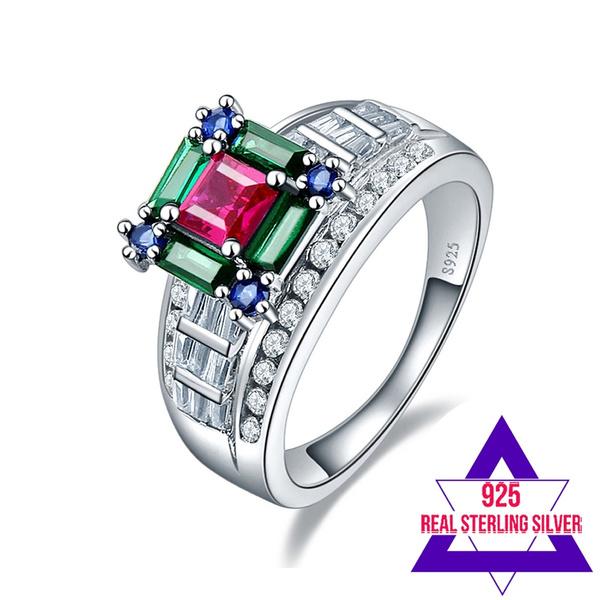 Sterling, emeraldring, 100real, Emerald