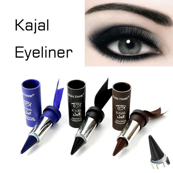 Picture of 3 Colors Smoky Eyes Kajal Eyeliner Solid Thick Black Bold Eyes Liner Gel Pencil Makeup Arabian