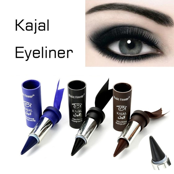 3 Colors Waterproof Smoky Eyes KAJAL Eyeliner Solid Thick Black Bold Eyes Liner Gel Pencil Makeup Arabian