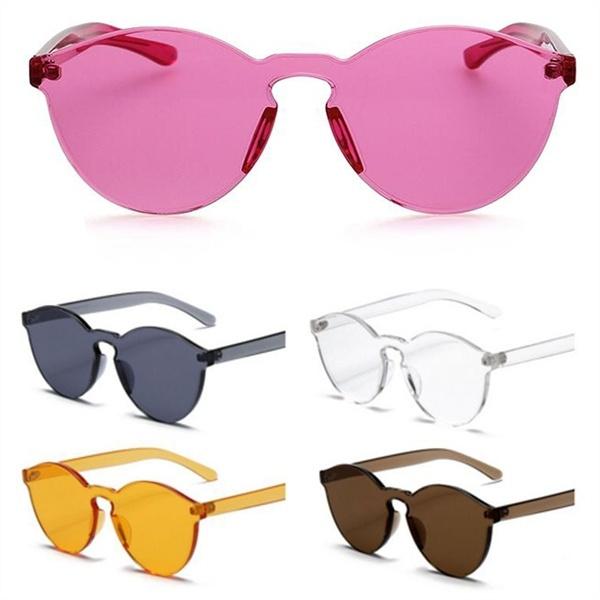 Picture of Rimless Round Sunglasses Transparent Vintage Design Sun Glasses For Women
