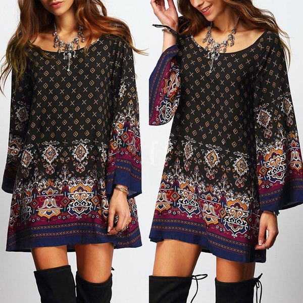 Picture of Boho Women Floral Printed Loose Long Sleeve Mini Dress Long Shirt Top Blouse Tee