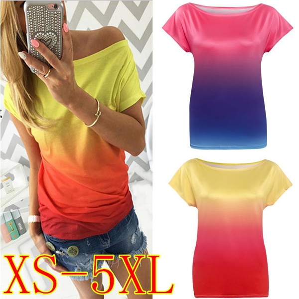 Picture of Fashion Summer Sexy Loose Short Sleeve Tops Gradient Color Printing Casual T-shirt Blouse Plus