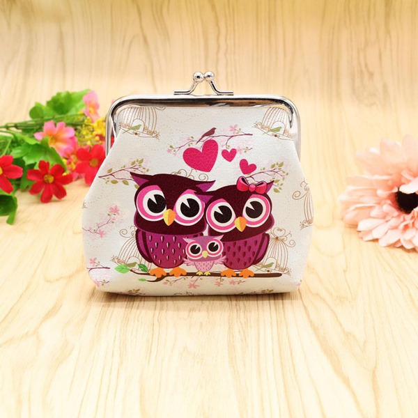 Picture of Vintage Women Lady Cute Owl Pattern Small Wallet Hasp Purse Clutch Bag