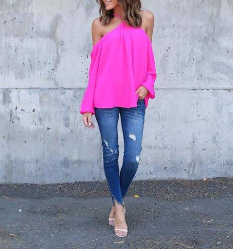 Women Halter Off-shoulder Long Sleeve Sexy Top Blouse T-shirt Summer Shirt Tops