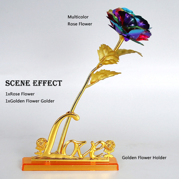 Picture of 24cm Handcrafted 24k Gold Foil Rose Flower Dipped Long Stem Lovers Wedding Gift 1 Piece
