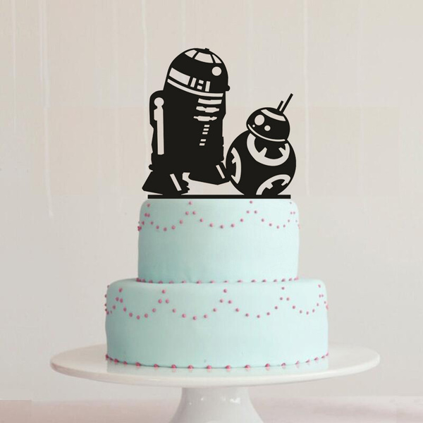 R2d2 Bb8 Cake Topper Star Wars Wedding Cake Topper Star Wars Silhouette Cake Topper Star Wars Birthday Cake Topper