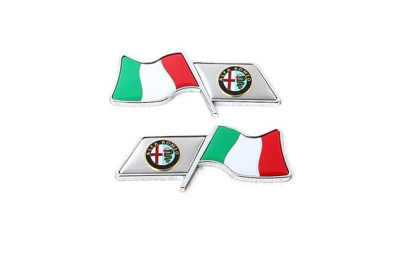 2Pcs Italian Flag Aluminum Alloy Car Sticker Badge Emblems Fit For Alfa Romeo