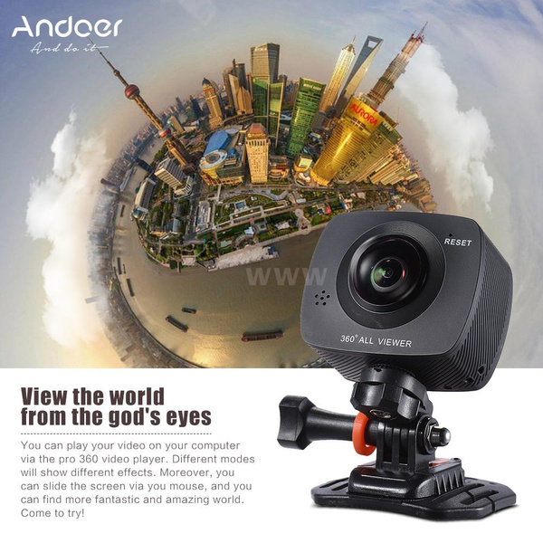 Panorama Camera Andoer Dual-lens 360 Degree Panoramic Digital Video Sports  Action VR Camera 1920 * 960P 30fps HD 8MP with 220 Degree Fish Eyes Lens