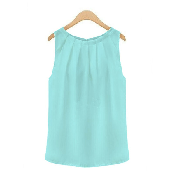 Tropical Sexy Fold Sleeveless Chiffon Women Blouses Casual Tops Women T- Shirt