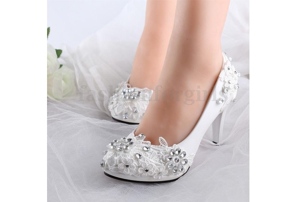 7.5cm White Floral Lace Shiny Crystal Wedding Shoes Bridal High Heels