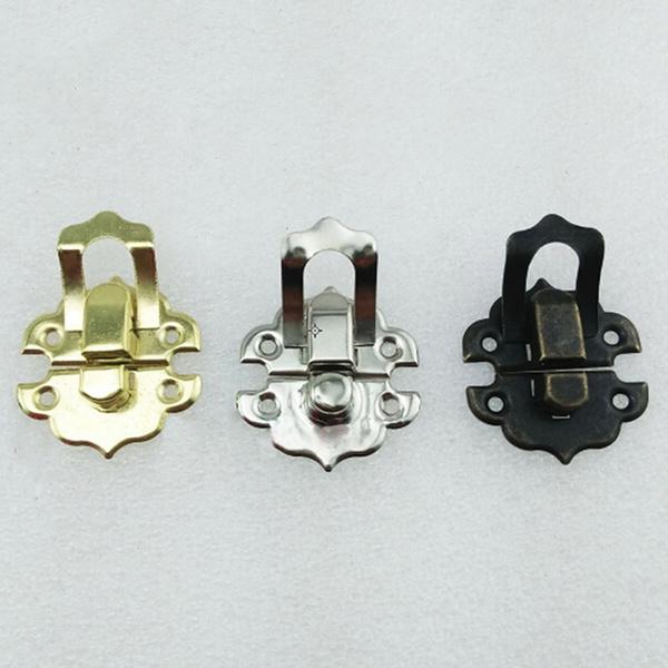 12X Antique Brass Decorative Hasp Jewelry Wooden Box Hasp Latch Lock With Screws