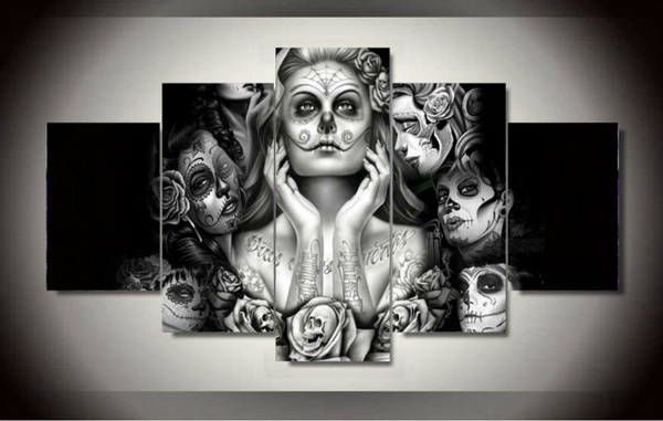 Picture of Home Decor Sugar Skull Girl 5 Piece Picture Painting Wall Art Room Decor Poster Wall Decor Canvas Painting No Frame