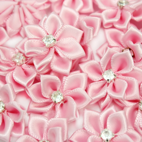 Picture of 40pcs Cute Handmade Flowers Crystal Decoration Satin Ribbon Flower Crafts Clothing Accessories