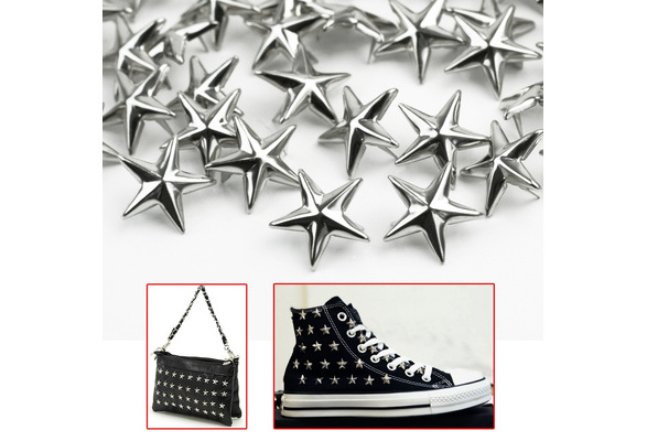100pcs star rivets Silver Metal 15mm Leathercraft DIY Studs Spots Spikes fashion craft clothing accessories NEW DESIGN