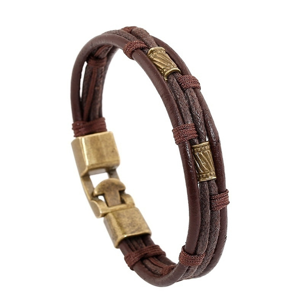 Picture of Europe Fashion Vintage Genuine Leather Braided Bracelet Personality Men Women Weave Bangle Bracelets Charm Party Jewelry Christmas