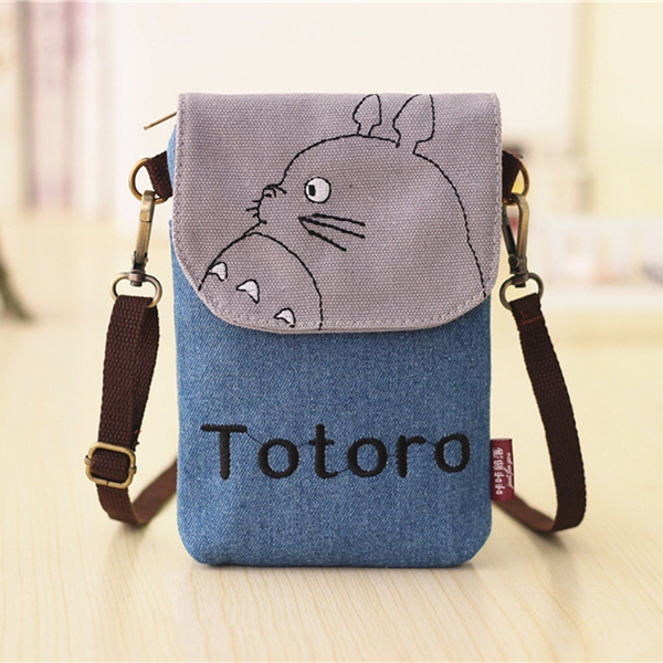 Picture of Totoro Canvas Wallet Bag Cute Coin Purse Cell Phone Case Mobile Mini Cross-body Shoulder Bag