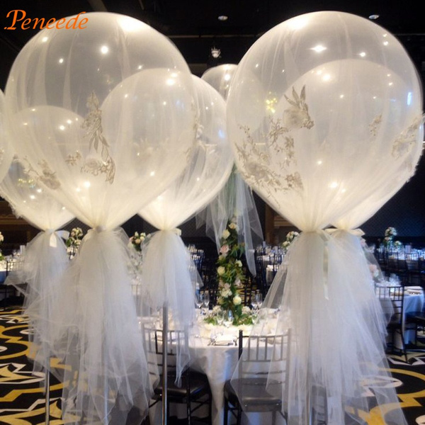 Picture of 10pcs 36'' Jumbo Large Round Latex Balloons Transparent Clear Giant Wedding Balloons Size 16inch Color Transparent