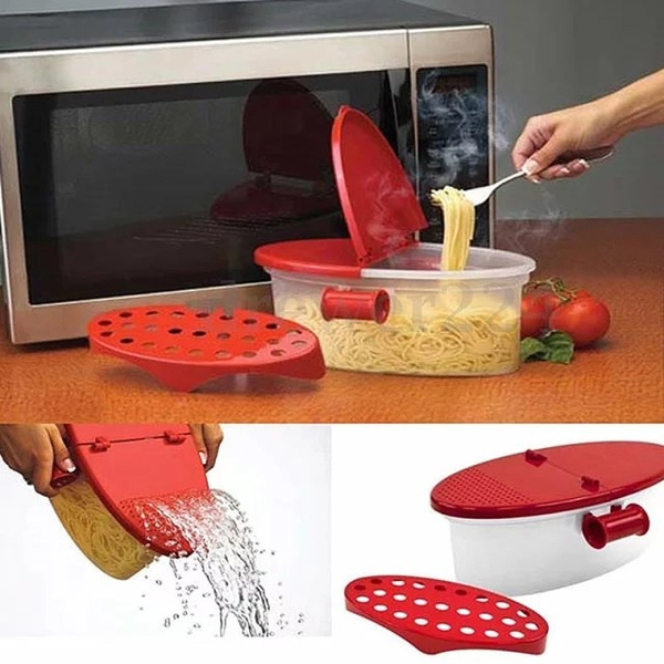 1x Microwave Pasta Boat Cooker Spaghetti Noodles Cooking Box Kitchen Gadget Tool Wish