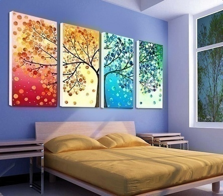4 Piece Four Seasons Tree Wall Art Decoration Canvas Painting for Home Living Room Wedding Decoration Mom Dad Friends Lover Gifts (No Frame)