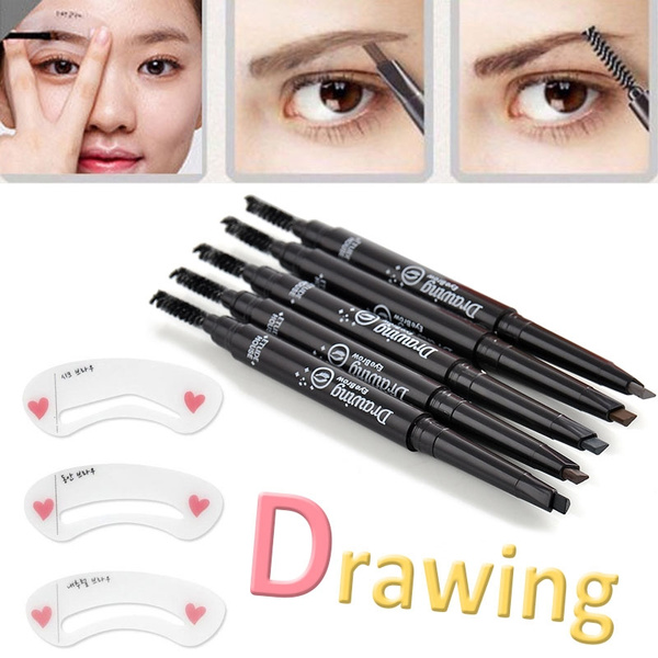 Picture of Waterproof Longlasting Eye Liner Eyebrow Eye Brow Pencil Brush Colorful + Eyebrow Template For Free
