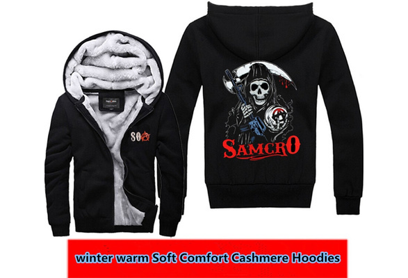 Xmas Gift Sons of Anarchy Thickening cotton-padded winter warm Hoodie  Cashmere Sweatshirts