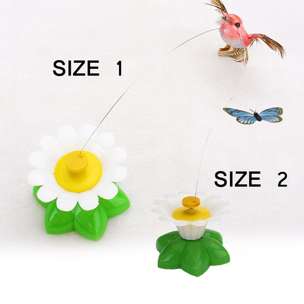 Pet Kitten Electric Rotating Butterfly/Bird Flower Cat Teaser Steel Wire Toy