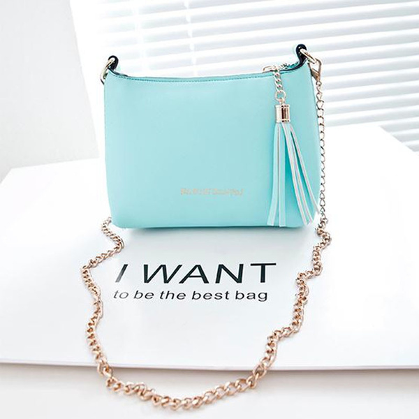 Picture of Fashion Tassel Mini Small Shell Bags Candy Chain Women's Leather Messenger Bags Body Crossbody Shoulder Bag Handbags