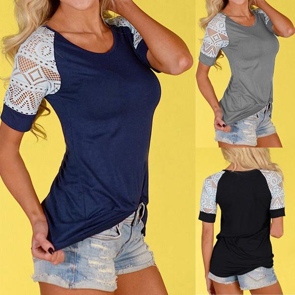 blouse, Tops & Tees, lacehollow, Plus Size