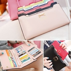 Fashion Wallet Women Lady Long Wallets Purse Female Candy Color Bow Knot PU Leather Carteira Feminina for Coin Card Clutch Bag