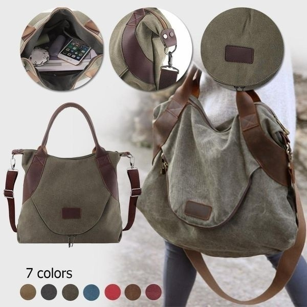 Picture of Large Pocket Casual Women's Shoulder Cross Body Handbags Canvas Leather Bags