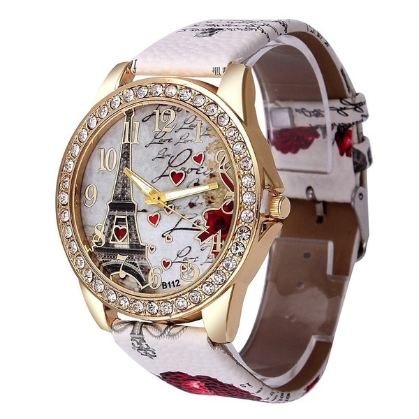 Vintage Paris Eiffel Tower Leather Quartz Watch Women Casual Crystal Wristwatch Gift New